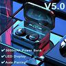 bluetooth 5.0 TWS Inalámbrico Auriculares LED Estéreo Impermeable Caja de Carga