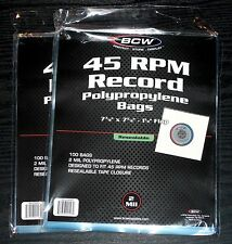 """(200) 45 RPM 7"""" Record RESEALABLE OUTER SLEEVES 2 Mil Clear Poly High Quality"""