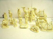 Vintage 15 pcs Ceramic Christmas Nativity Set Byron Molds ~ Cream Jeweled ~ 1973