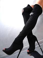 Overknee Lang Stiefel Damen Luxus Stretch Jeans Boots Q21 High Heels Schwarz 38