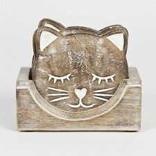 VINTAGE WOODEN CAT COASTERS SET OF 6 WITH HOLDER - For Tea Coffee Drinks
