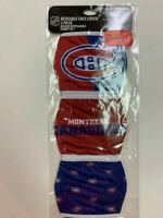 MONTREAL CANADIENS 3 PACK FACE MASK COVERS - REUSABLE WASHABLE W/ COTTON LINING
