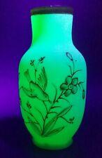 Victorian Uranium Glass Green Gold Enamel Floral Hand Painted Design Vase 1800's