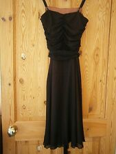Marks & Spencer [autograph].Black Evening Dress.Shoestring Staps.Size 10