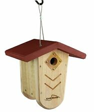 Kettle Moraine Red Roof Nest Box Wren & Chickadee Hanging Bird House #9105RED
