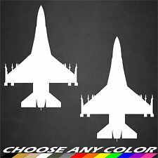 2 USAF F-16 Aircraft Stickers Top View Military Vinyl Graphics Decal Sticker Car