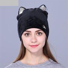 Women Winter Hat Cute Cat Design Kitty Ears Rhinestone Decoration Girls Beanie