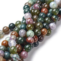 10 Strds Natural Indian Agate Stone Beads Round Smooth Colorful Loose Beads 8mm