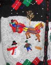 Ugly Christmas Cardigan Sweater XL Sleigh Ride Ice Skate Snow Designers Original