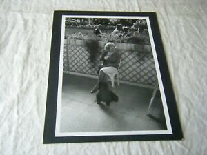 Black & White Mounted Photo Art Print, Woman Seated with Poodle Dog