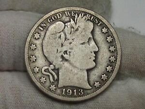 Key Date VG 1913 Barber Half Dollar. #28