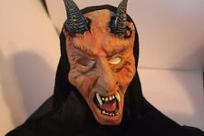 Adult Devil Mask Black Hood Halloween Costume Evil Scary Overhead Rubber Latex