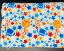 Little Beginnings Baby Blanket Football Baseball Soccer Basketball Stars Blue