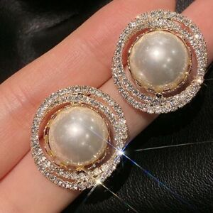 Big Round Pearl Stud Earrings for Womens Fashion Jewelry 925 Silver Earings Post