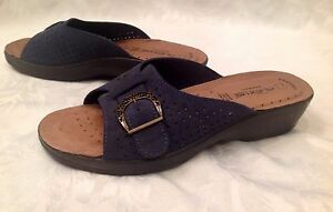 FLEXUS Edella Womens Size 39 (8 1/2) Navy Blue SUEDE LEATHER SANDALS Slides NIB