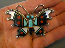 """TE'ME' inlaid stone sterling silver butterfly pin 2 7/8"""" x 2"""""""