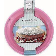 """8"""" Flexible ROUND SILICONE CAKE MOULD Tin Non Stick Pink Baking Kitchen Bakeware"""