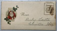 Antique Gift Card Present Christmas Santa Envelope Embossed Calling Card Holly