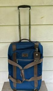Tumi 'Alpha Bravo' Meridian TWO Wheeled  Duffel Bag carry on  Blue MSRP $795