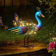 Solar Powered Peacock Spiral Light Outdoor Garden Decor Exotic Bird Statue LED