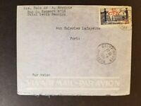 1951 Saint Denis Reunion French Colony Paris France CFA Overprint Air Mail Cover