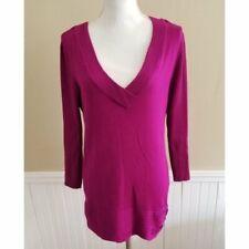 Style & Co Women Purple V neck Sweater Size L