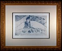 Woman with Figs Original Etching by Paul Gauguin Framed