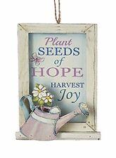"KSA WOODEN GARDEN WINDOW ""PLANT SEEDS OF HOPE-HARVEST JOY"" CHRISTMAS ORNAMENT A"