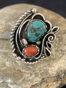 Rare Native American Sterling Silver Blue Turquoise Spiny Oyster Ring Sz 10 178