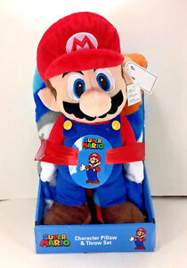 "NEW Nintendo SUPER MARIO 40"" x 50"" Soft THROW BLANKET & PILLOW Plush Figure"