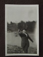 MAN WITH ARM EXTENDED THROWING A BOCCE BALL Vtg PHOTO
