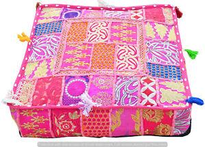 "Vintage Cotton Patchwork Stool Pillow Cover Indian 22"" Square Ottoman Floor Pouf"