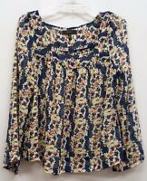 JESSICA SIMPSON Size M Blue White Pink Sheer Floral Long Sleeves Blouse Top