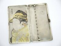 6 3/8 in - Sterling Silver Antique Japanese Woman w/ Fabric Roll Cigarette Case