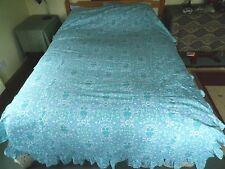 Vintage 1960's Jonelle Cotton Bed Spread Blue 'Daisy Chain' Pat Albeck