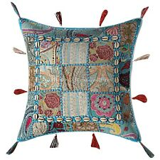 Decorative Cotton Boho Cowrie 43 x 43 Embroidered Patchwork Throw Pillow Cover