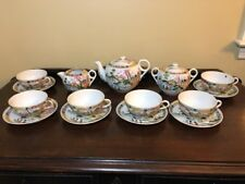 Vintage Japanese Porcelain Hand Painted Teaset Teapot,Creamer,Sugar,Cups&Saucers