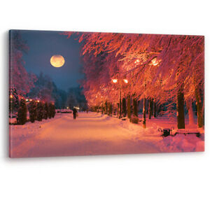 Park Evening Snow Moon Streetlights Winter Large Canvas Wall Art Picture Print