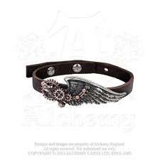 AE A100 Black Baron Technician's Wingstrap Steampunk Wristband -Leather, Pewter