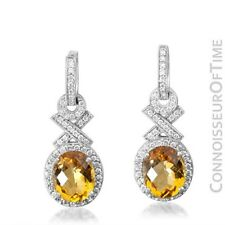 14K White Gold, Diamond & Natural Citrine Quartz Earrings 75 Carat TDW