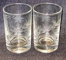 2~Vtg Clear Glass Etched Laurel Leaf Star Flower Pattern small glass juice