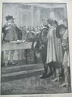 ANTIQUE PRINT C1800'S CROMWELL REFUSING THE CROWN LONDON HISTORY ENGRAVING ART