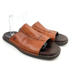 TIMBERLAND Men's Brown Leather Open Toe Slip On Slide Shoes Sandals Sz 12 M