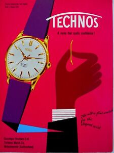 vintage 1958 color print ad TECHNOS Swiss watch watchmaking MID CENTURY ART