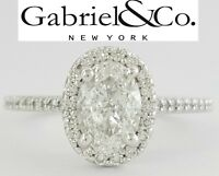 Gabriel & Co 1.31 ct 14K White Gold Oval Diamond Halo Engagement Ring GIA F/VS2