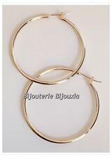 Boucles D'oreilles Créoles 4cm Plaqué Or 18 CARATS Bijoux Femme