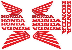 SET of 10 HONDA Stickers. Vinyl Decals for Bike, Quad or Outboard. 18 Colours