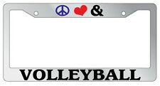 Chrome License Plate Frame Peace Love And Volleyball Auto Accessory Novelty