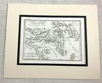 1821 Antique Map of Attica Greece Ancient Greek Peloponnese Old Rare Engraving