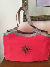 Authentic Guerlain Summer Canvas Tote Bag Sunburst Motif Pink & Gold NEW